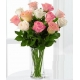 12 White and Pink Roses in Vase