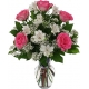6 Pink Roses with Seasonal Flowers in Vase