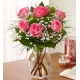 6 Pink Roses in Vase with Greenery
