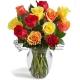 12 Mxied Roses in Vase