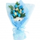 12 pcs of Blue and White Roses in a Bouquet